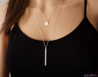 Necklace set , silver bar necklace, simple disc necklace, monogrammed, delicate necklaces, layering necklaces