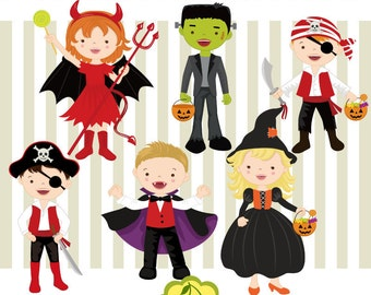 Halloween Trick or Treat,Halloween costumes kids clip art set HLCLIP 0002 -Personal and Commercial Use