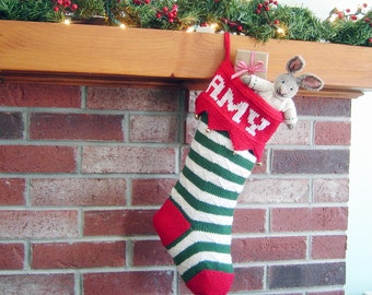 Personalized Christmas Stocking - Hand Knit Christmas Stocking - Knitted Christmas Stocking - Red Green & White Stripe Xmas Stocking
