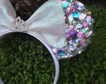 Pre-Order LED Diamond Princess Anniversary Mouse Ears Flower Crown Headband Disneyland Diamond Celebration
