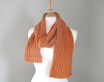 Burnt Orange Scarf, Alpaca & Silk, Hand Knit Scarf, Luxury Natural Fiber, Long Lightweight