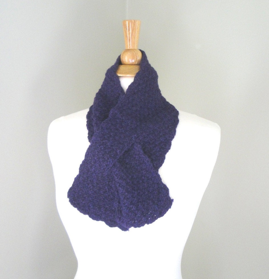 Knitting Pattern For Pull Through Scarf : Purple Neck Scarf Pull Through Ascot Knitted Alpaca Wool