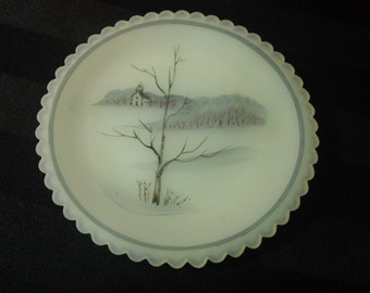 """Vintage 80s Fenton Glass Limited Edition Artists' Series Hand-Painted Custard Satin 3-1/4"""" Cup Plate ~ Winter Chapel signed by C.Smith"""