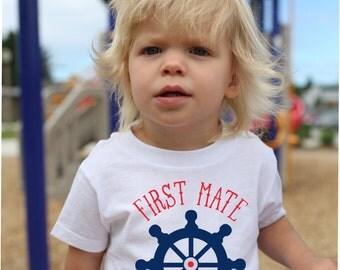 First Mate T Shirt, Nautical T Shirt, Personalized T Shirt, Ships Wheel Shirt, Beach T Shirt, Boat Shirt, Boating Gift, Vacation Shirt