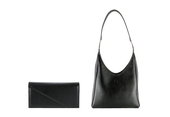 Leather clutch evening bag BORA, CSENGE // black (Italian calf skin) - FREE shipping, unique bag