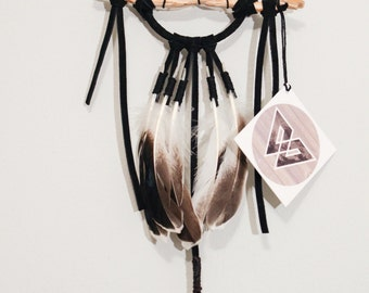 The Mini  Black Hawk Dreamcatcher - Natural Wood Branch, Leather Suede,  Feathers, Wall Hanging, Crystal, Bedroom Decor, Black Dream Catcher