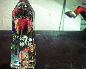 Preserved Pink Roses + White Baby's Breath enclosed in large Resin Quartz Crystal Point. MADE TO ORDER.