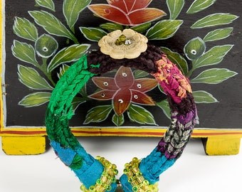 Fabric Bangles, Womens Bracelets, Friendship Bracelets, Textile Jewelry, Fiber Bracelets, Gifts under 20, Gifts under 25, Unique Bangles