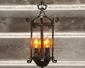 Antique Lantern, FREE SHIPPING, 1920's Lantern,  Vintage Lighting, Vintage Chandelier, Hall Light, Antique Chandelier, Ceiling Light V-169
