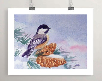 chickadee print from watercolor painting, bird in snow art, unframed winter holiday wall decor by Janet Zeh Original Art