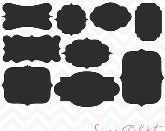 80% OFF Sale Svg Cuttables Label Frames Cut Files Set DXF SDD012
