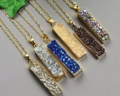 Gold Druzy Pendant Necklace - Choose Your Color Druzy - Gold Druzy Necklace - Druzy Jewelry - Layering Necklace - Trendy Jewelry