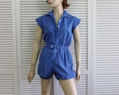 Vintage Girls Romper Gym Suit 1950s Blue  Broderick Size Small