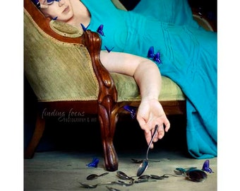 Portrait Photography, Spoonie Chronic Illness Spoon Theory Concept Art, ME CFS Disease Awareness Surreal Fantasy Butterfly Butterflies Photo