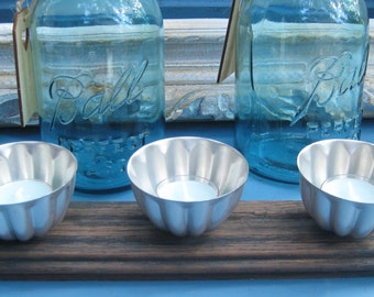 Three Candle Rustic Candle Holder/ Re-Purposed Tin and Oak Candle Holder/Outdoor Candle Display