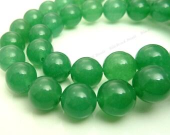 10mm Sea Green Jade Round Gemstone Beads - 15.5 Inch Strand - BE36