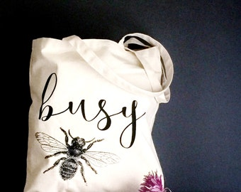 Busy Bee Tote Bag. Canvas Farmer's Market Tote for Errands. Teacher Gift Idea by Milk & Honey.