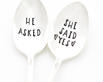 He Asked, She Said Yes. Stamped Wedding Silverware. Handstamped Sundae Spoons for engagement gift idea, wedding present.