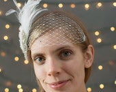 Bridal birdcage bandeau veil, accented with rhinestone applique, fabric blooms, feathers, and Swarovski rhinestones