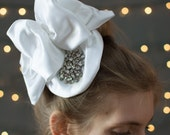 Bridal Fascinator ~ Beautiful white satin, hand crafted bow and base, with vintage rhinestone detailing