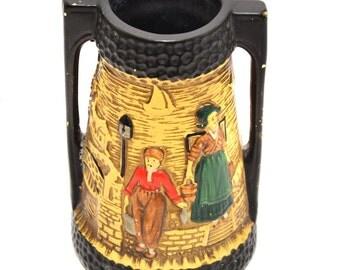 1920s Cyples Old Pottery Chalkware Embosa Ware Vase by JT Fell Vintage Vase Art Deco Vase Vintage Home Decor Vintage Flower Vase