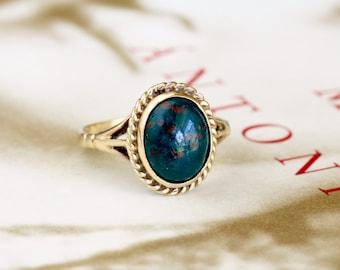 Edwardian 1.4ct  Bloodstone Engagement Ring, Antique Engagement Ring, Victorian Bloodstone Gold Ring, Antique Heliotrope Ring, Vintage Ring