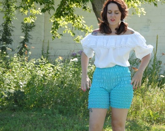 Vintage teal lace bloomers, high waist shorts blue pettipants, M L