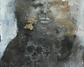 """Original raw expression contemporary art brut Mixed Media Painting on paper-""""I Was a Bear...What Were You?"""""""