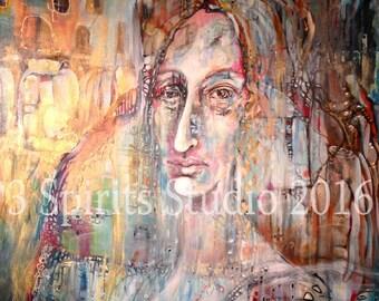 "Original Abstract Painting - ""Marina sommersa"""