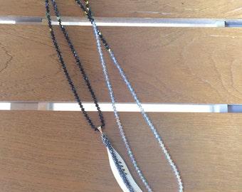 Swarovski Crystal Ombré Feather Necklace