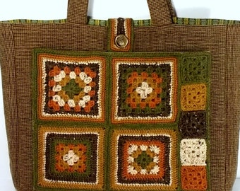 Granny Square Tote, Crochet Wool, Quilted Wool, Box of Chocolates Collection