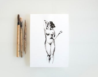 Original female nude art, ink art, minimal nude, nude drawing, nu art, nude, nude drawings, abstract nude, nude ink drawing, nude wall art