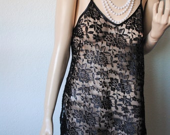 Vintage All Lace Black Nightie - by Alexandra Nicole - Small