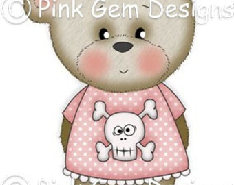 Digi Stamp Pirate Bella. Makes Cute Papercraft and Digital Scrapbooking Projects. Teddy Bear