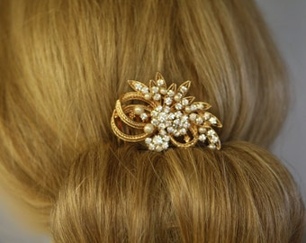 Rose Gold Vintage Inspired Pearls bridal hair comb,Branch,Feather comb, wedding hair comb, bridal hair accessories,Flower comb