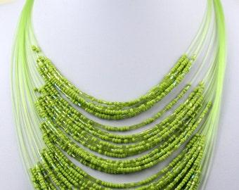 Neon Green Necklace with Masai Beads. Funky, Bright, Playful Choker. Maasai Beads. Handmade. MapenziGems
