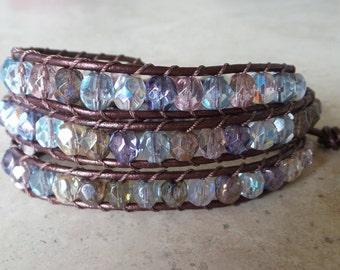 Leather and Czech Glass Bead Wrap Bracelet