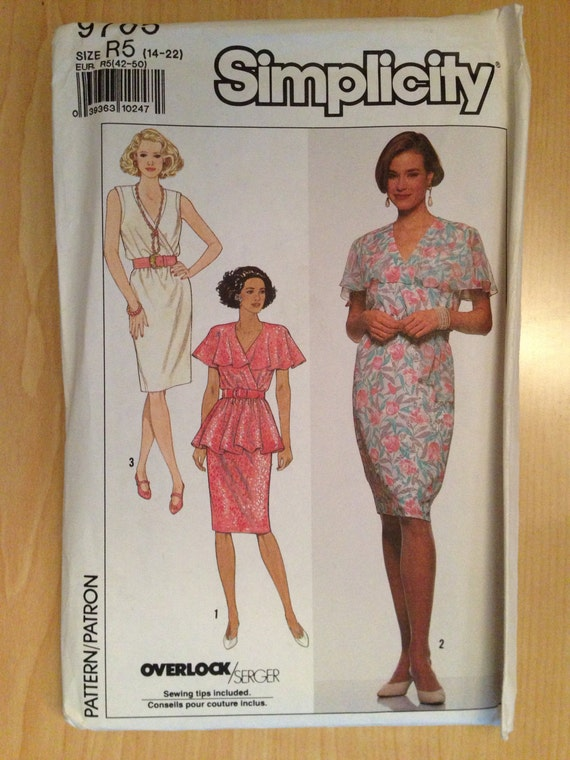 Vintage 90s Simplicity 9705 Sewing Pattern Misses Dress and Sash Size 14-22