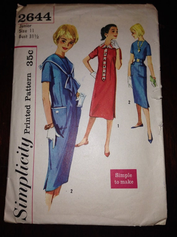 Vintage 50s Simplicity 2644 Sewing Pattern Junior Misses and Teen Age Dress with Detachable Collar Size 11