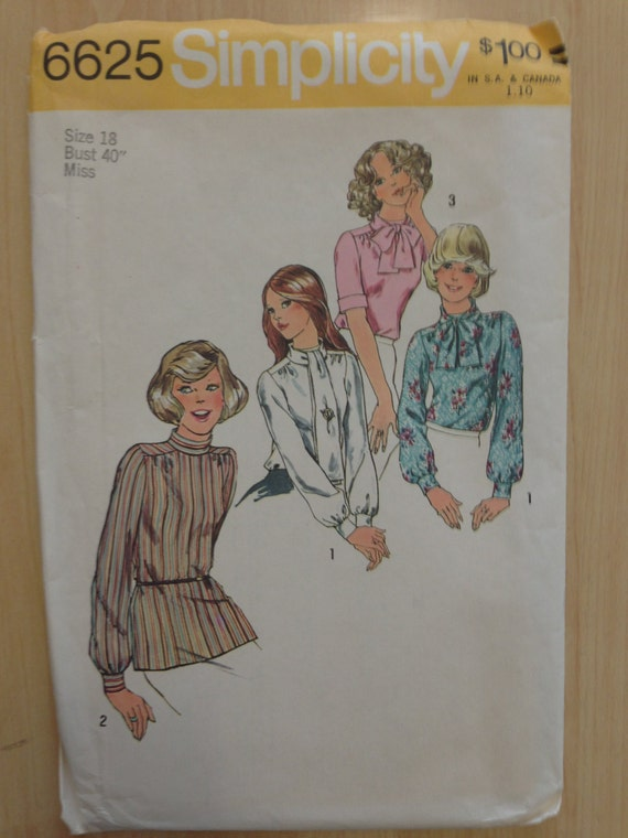 Simplicity Sewing Pattern 6625 70s Misses Blouse and Scarf Size 18