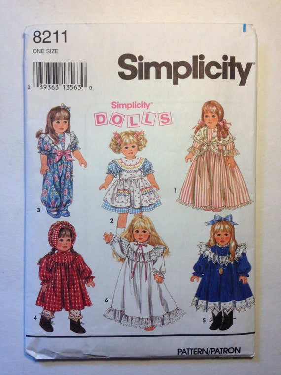 """Wardrobe for 18"""" Doll Simplicity Vintage Sewing Pattern 8211 90s"""
