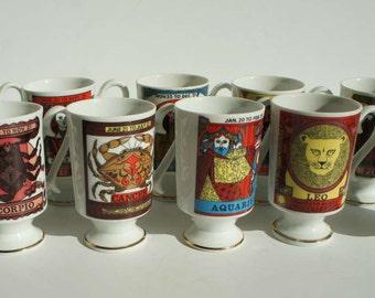Vintage Mod Zodiac Smug Mugs set of 11 Zodiac Mugs by Royal Crown Arnart Zodiac Coffee Mugs