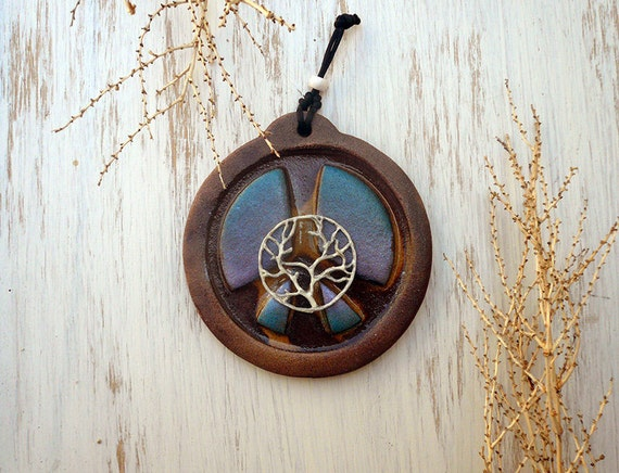Tree Of Life Peace Sign Wall Hanging Handmade Ceramic Plaque
