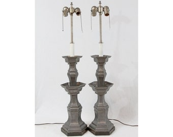 Chinese Pewter Tall Candlestick Table Lamps Pair Vintage Traditional Colonial Style