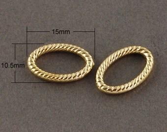 338-  Connecteur, anneaux ovales,  env 15x10.5x2mm,  100 pcs