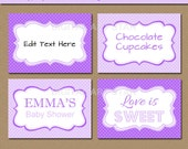 EDITABLE Purple Lavender Printable Buffet Cards, Tent Cards, Fancy Labels - Bridal Shower Labels, Baby Shower, Birthday, Baptism Food Labels