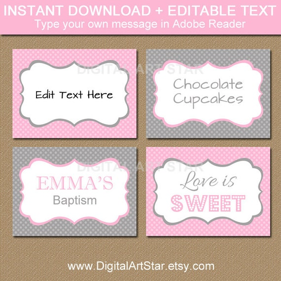 Baby Shower Buffet Menu: EDITABLE Pink Grey Printable Buffet Cards, Tent Cards