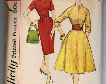 "1960's Simplicity A-line Dress with slit at neck pattern - Bust 38"" - No. 3107"