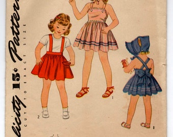 1940's Simplicity Girl's Sundress with suspenders and Bonnet Pattern - Size 4 - UC/FF - No. 4318