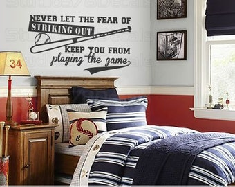 Baseball Wall Decal | Never Let The Fear Of Striking Out | Sports Wall Decal  |
